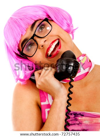 Sexy secretary on the phone wearing a pink wig ? isolated - stock photo