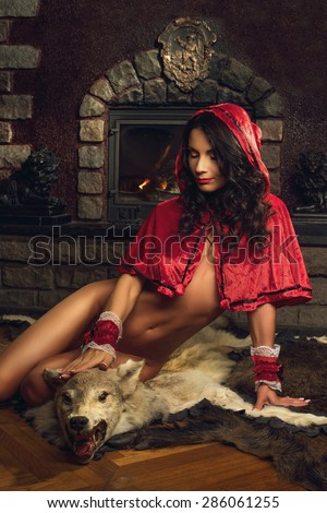 Sexy seductive Red Riding Hood - stock photo