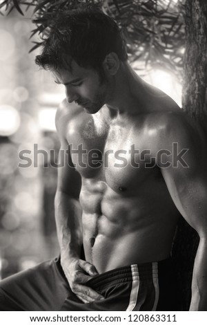 Sexy sensual outdoor portrait of a very fit male model shirtless showing abs - stock photo