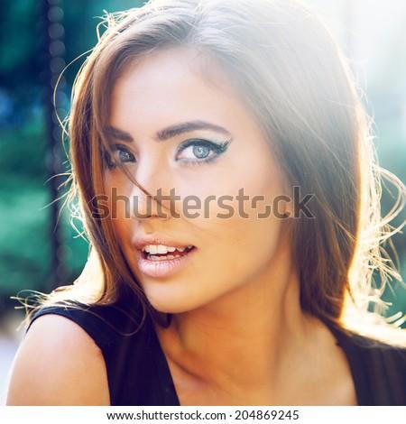 Woman Posing With Big Eyes