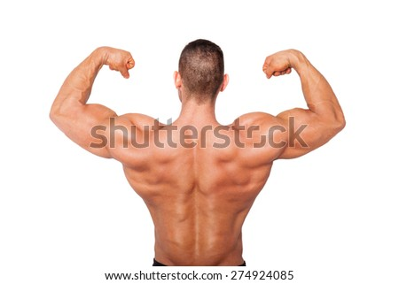 Sexy shirtless bodybuilder showing biceps. Health, sports and fitness. - stock photo