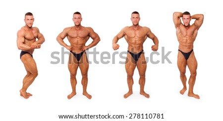 Sexy shirtless muscular bodybuilder in different bodybuilding poses isolated on white background. Sports, body building, strengths and fitness. - stock photo