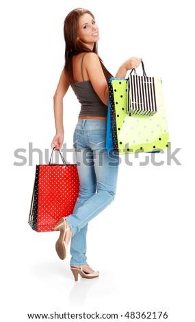 sexy shopping girl - stock photo
