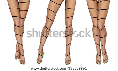 Sexy slim female legs in dark stockings. Conceptual fashion art. Patterned pantyhose. 3D render.