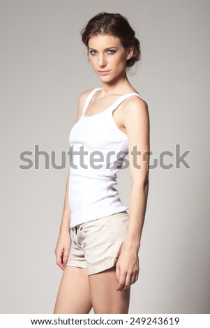 Sexy slim model in studio - stock photo