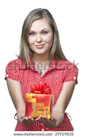 Sexy smiling girl holding a gift , isolated on white - stock photo
