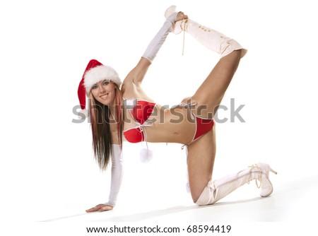 Sexy smiling girl in red bikini - stock photo