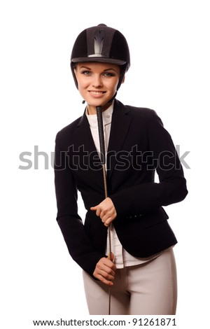 Sexy smiling strict jockey with thin switch, isolated on white