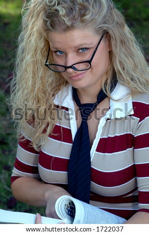 sexy student - stock photo