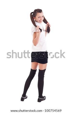 Sexy student girl posing over white background. - stock photo