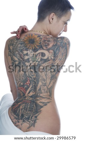 Sexy tattooed back on a white background - stock photo