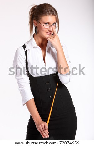 sexy teacher holding pointer isolated on white background