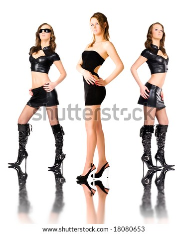 Sexy team. Three images of one woman. - stock photo