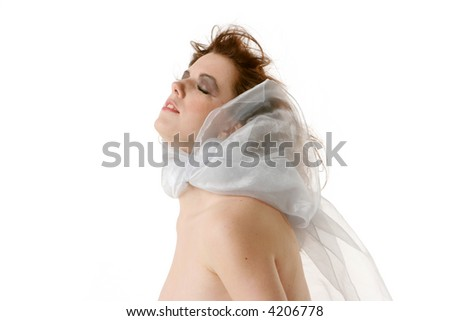 Sexy topless woman on white background