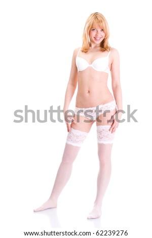 Sexy underwear mode in white background. - stock photo