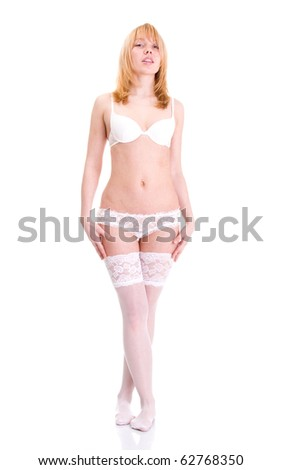 Sexy underwear model in white background. Isolated. - stock photo