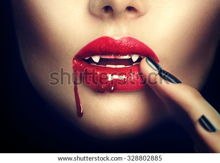 Sexy Vampire Woman lips with blood. Fashion Glamour Halloween art design - stock photo