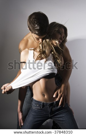 sexy wild young couple - stock photo