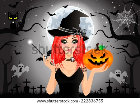Sexy Witch Holding Magic Wand and Halloween Pumpkin (Jack O Lantern) on Halloween Background.