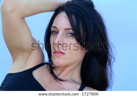 sexy with muscle - stock photo