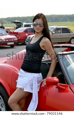 sexy woman and car - stock photo