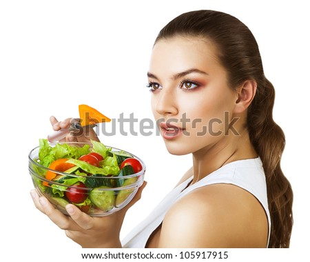 sexy woman and salad - stock photo
