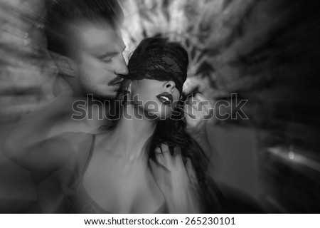 Sexy woman at night getting orgasm with lover, black and white - stock photo