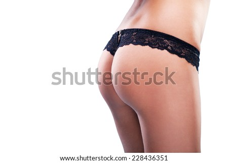 Sexy woman buttocks on the white background