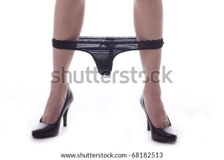 Sexy woman calf with panty - stock photo