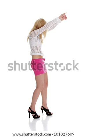 Sexy woman dancing, isolated on white background - stock photo