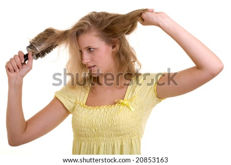 Sexy woman drying hair