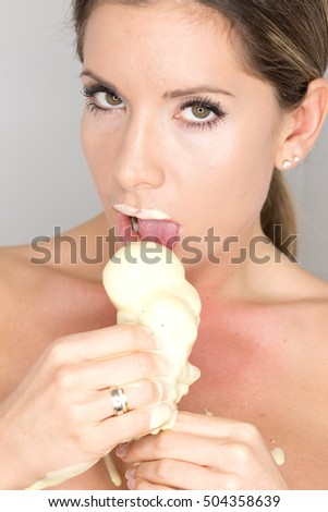 sexy woman eating ice cream