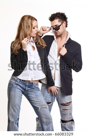 sexy woman flirting with a handsome man on white background - stock photo
