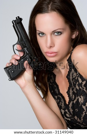 Sexy Woman Holding Gun - stock photo