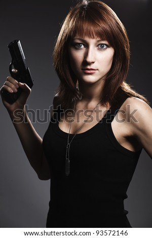 Woman Holding Gun Stock Images, Royalty-Free Images ...
