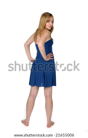 sexy woman in bare feet and short blue dress - stock photo