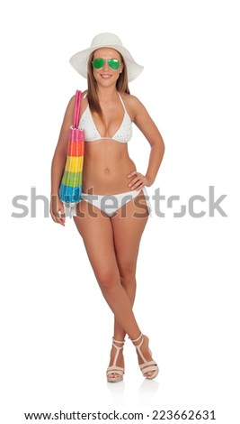 Sexy woman in bikini with sunglasses isolated on white background