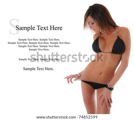 Sexy Woman in Bikini with Text Space to the left. - stock photo