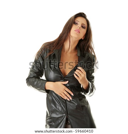 Sexy woman in black leather coat, isolated on white