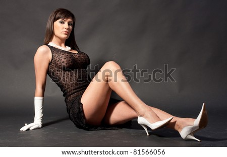 Sexy woman in black lingerie - stock photo