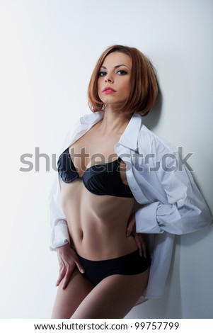 sexy woman in black lingerie and white shirt - stock photo