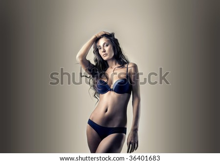 sexy woman in black underwear - stock photo