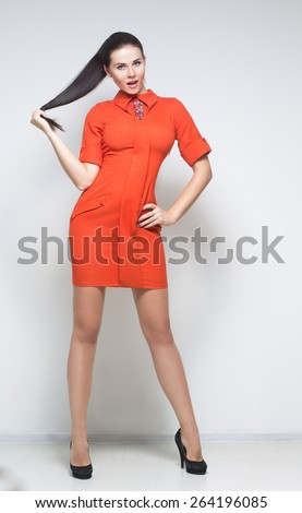 sexy woman in coral dress - stock photo