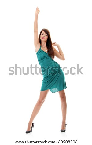 Sexy woman in evening gown, isolated on white background - stock photo