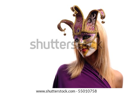 sexy woman in half mask from Venice isolated on white - stock photo