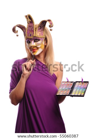 sexy woman in half mask from Venice isolated on white. good use for make-up concept - stock photo