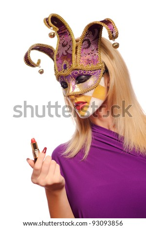 sexy woman in half mask from Venice isolated on white. may be use for fashion make-up concept - stock photo