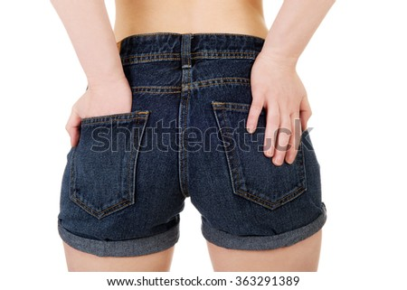 Sexy woman in jeans shorts.