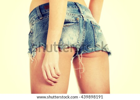 Sexy woman in jeans shorts.  - stock photo