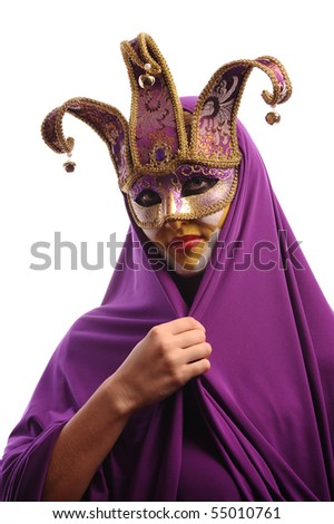 sexy woman in mystery violet half mask, isolated on white - stock photo